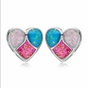 💐 Pink, White, Blue Opal Hearts in .925